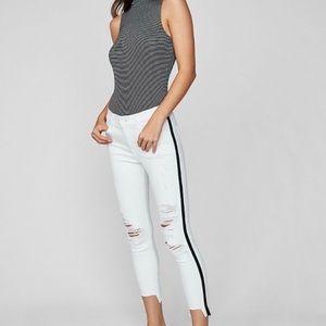 Express White Denim Cropped Legging Size 2